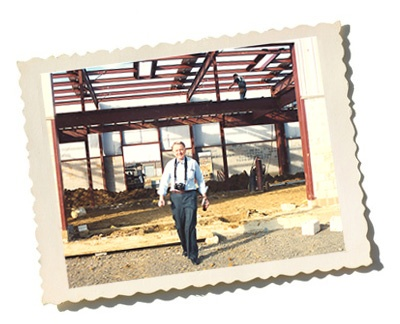 Jerry Radwell standing in fron of the Moorestown Construction site of Radwell International
